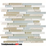 Tuscany Travertine Blue Beige Glass Blends Mosaic Tile