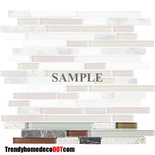 Sample Emperador Dark Marble Tuscany Travertine Green Brown Glass Blends Mosaic Tile