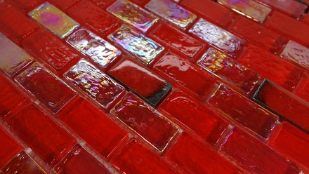 Red Iridescent Glass Mosaic Tile