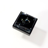 Black Crackle Crystal Glass Black Metal Square Perception Knob