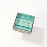 Green Back Hand Paint Crystal Glass Brushed Nickel Square Perception Knob