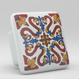Red Blue Floral Flower Square Ceramic Knob