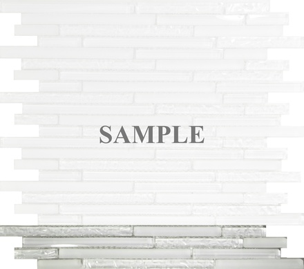 Sample Pure White Glass Linear Mosaic Tile
