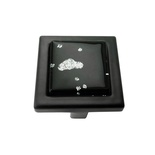 Black Iridescent Nova Crystal Glass Black Metal Square Manor Knob