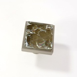 Brown Crackle Crystal Glass Brushed Nickel Square Perception Knob