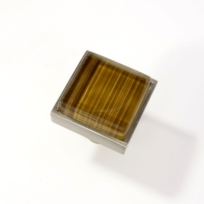 Light Brown Hand Painted Crystal Glass Brushed Nickel Square Perception Knob