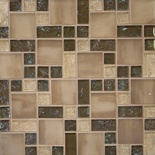 Brown Beige Pattern Crackle Glass Blends Mosaic Tile