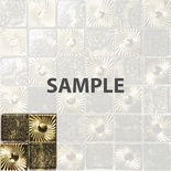 Sample Gold Floral Metal Decor Insert Glass Mosaic Tile