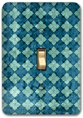 Blue Diamond Square Pattern Metal Switch Plate Design 1