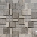 White Oak Marble Gray Glass Blends Pattern Mosaic Tile
