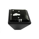 Black Iridescent Nova Crystal Glass Black Metal Square Frustum Knob