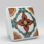 Blue Red Floral Flower Square Ceramic Knob