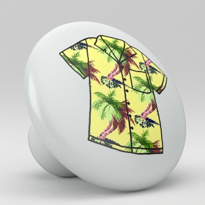 Tropical Floral Hawaii Shirt Ceramic Knob Design 19