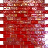 Red Iridescent Glass Subway Mosaic Tile