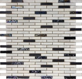 Iridescent Glass White Natural Stone Mosaic Tile
