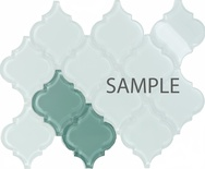 Sample Blue Arabesque Moroccan Pattern Glass Mosaic Tile
