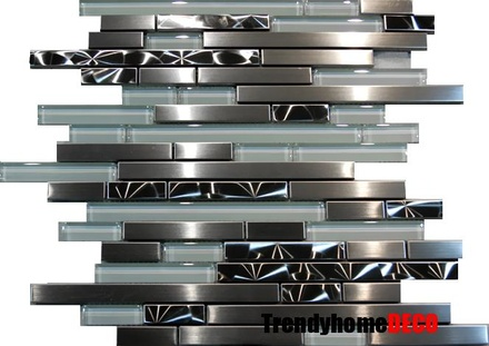 Brushed Nickel Jeweling Stainless Steel Glass Blends Linear Mosaic Tile