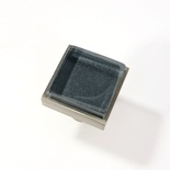 Metallic Gray Blue Crystal Glass Brushed Nickel Square Perception Knob