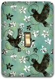 Blue Flying Birds Floral Metal Switch Plate Design 2