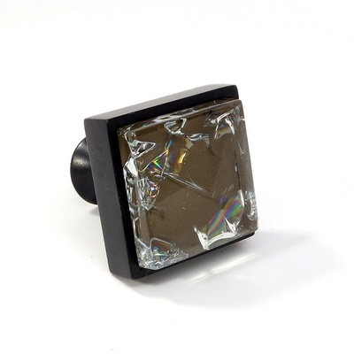 Brown Crackle Crystal Glass Black Metal Square Perception Knob