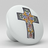 Cross Talavera Design Ceramic Knob