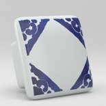 Blue Willow Corner Square Ceramic Knob