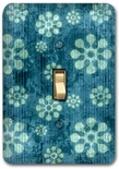 Blue Flower Floral Pattern Metal Switch Plate Design 2