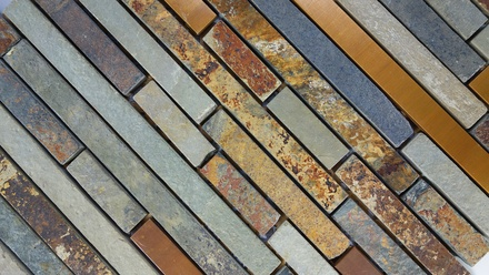 Rustic Copper Linear Natural Slate Blend Mosaic Tile