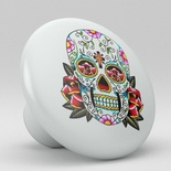 Sugar Skull Flower Ceramic Knob