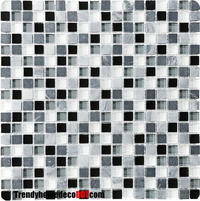 Marble Black Gray White Glass Blends Mosaic Tile