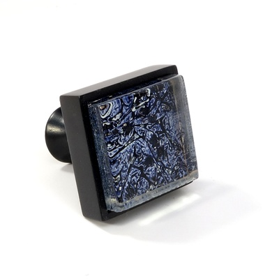 Blue Metallic Crystal Glass Black Metal Square Perception Knob