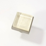 Beige White Metallic Crystal Glass Brushed Nickel Square Perception Knob