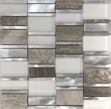 Gray Metal Glass Natural Stone Blend Mosaic Tile