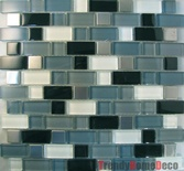 Stainless Steel Pattern Black Blue Glass Blends Mosaic Tile