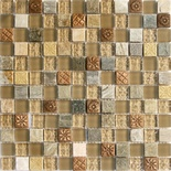 Art Deco Insert Beige Cream Glass Blends Mosaic Tile