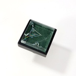Green Crackle Crystal Glass Black Metal Square Perception Knob