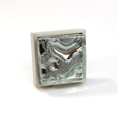 Square Perception Silver Metallic Crystal Glass Brushed Nickel Square Perception Knob