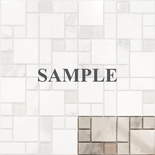 Sample White Carrara Marble Glass Blends Pattern Mosaic Tile