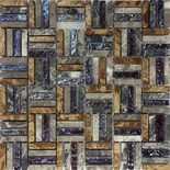 Brown Natural Stone Iridescent Glass Pattern Mosaic Tile