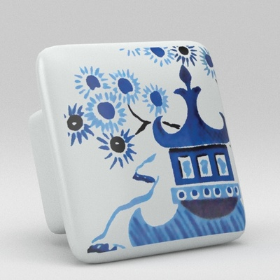 Blue Willow Square Ceramic Knob
