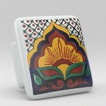 Red Yellow Leaf Floral Square Ceramic Knob