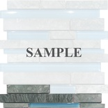 Sample Green Marble Blue Glass Blends Mosaic Tile