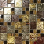 Golden Brown Metallic Foil Metal Glass Blends Pattern Mosaic Tile