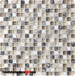 Emperador Dark Marble Travertine Brown Glass Blend Mosaic Tile