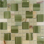 Green Onyx Marble Glass Blends Pattern Mosaic Tile