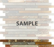 Sample Rustic Copper Linear Natural Slate Blend Mosaic Tile