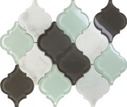 Glass Stone Blend Arabesque Moroccan Pattern Mosaic Tile