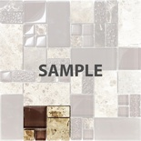 Sample Brown Pattern Imperial Marble Stone Glass Blend Mosaic Tile
